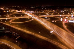 Night city interchange. Night motion on Moscow streets Stock Photo