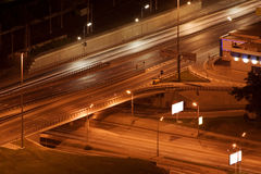 Night city interchange Stock Photos