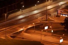 Night city interchange. Night motion on Moscow streets Stock Photos
