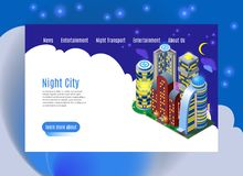 Night City Isometric Web Page. Night city with luminous buildings isometric web page with menu interface on white blue background vector illustration vector illustration