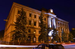 Night city. Ivano-Frankivsk building Royalty Free Stock Photo