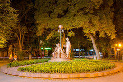 Night city. Ivano-Frankivsk monument Stock Photos