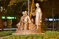 Night city. Ivano-Frankivsk monument Royalty Free Stock Images
