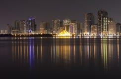 Night city. Khalid Lagoon. Sharjah. UAE. Stock Photo