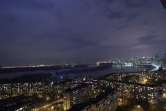 The night city. Kiev. The Obolon district Stock Photo