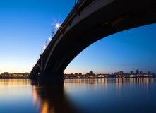 Night city of Krasnoyarsk. Bridge over Yenisei river Stock Images