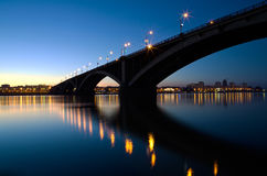 Night city of Krasnoyarsk. Bridge over Yenisei river Royalty Free Stock Photography