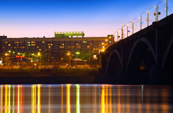 Night city of Krasnoyarsk Stock Photography