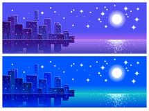 Night city, landscape, abstract,  Royalty Free Stock Photos