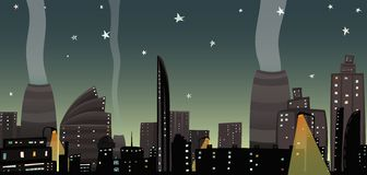 Night City Landscape Cartoon Royalty Free Stock Images