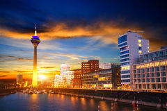 Night city landscape Dyusildorf. Media harbor. Germany. Royalty Free Stock Photography