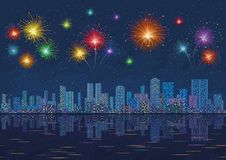 Night city landscape with fireworks, seamless. Urban background, night cityscape with skyscrapers and bright holiday fireworks in the starry sky reflecting in Stock Images