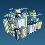 Night city landscape. Isometric view. royalty free illustration