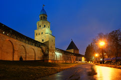 Night city landscape - Kokui and Intercession towers of  Novgorod Kremlin in Veliky Novgorod, Russia Royalty Free Stock Images