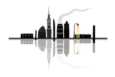 Night City Landscape Reflection Cartoon Royalty Free Stock Photography