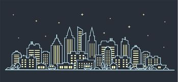 City landscape template. Thin line night City landscape. Downtown landscape with high skyscrapers on dark. Panorama. Night City landscape. Thin line night City Royalty Free Stock Image