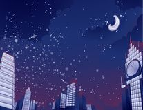 Night city landscape Vector illustration Stock Photography
