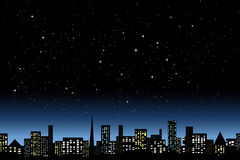Night city light. Night city landscape undo starlit sky Royalty Free Stock Photography