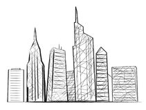Night City Light Sketch Icon Vector illustration. Night cityscape colorless silhouette with buildings and skyscrapers. Vector illustration of town drown in black Stock Images