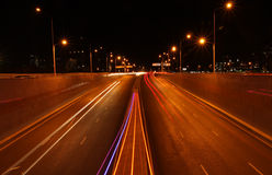 Night city lights. Night city road lights, cars, buildings, highway, traffic Stock Photography