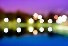 Night city lights bokeh with reflections background. Hd Royalty Free Stock Photography