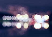Night city lights bokeh with reflections background. Hd Stock Photography