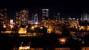 Night city. Night lights of the city. A calm night city. Minsk stock video