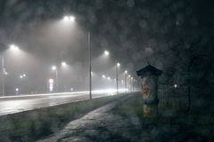 Night City Lights, Car Headlights Tracks. Royalty Free Stock Images