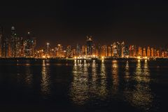 Night city lights. District Dubai Marina from observation platform of palm Jumeirah. Dubai at may 2019.  royalty free stock images
