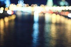 Night city lights at horizon Royalty Free Stock Images