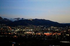 Night city lights. Kislovodsk, Russia. Night city lights. , russia, panorama, landscape, nature, view, mountains stock image
