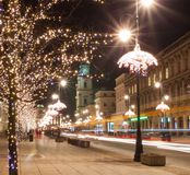Night city lights in old town Warsaw, Poland. Christmas royalty free stock photography
