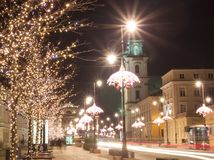 Night city lights in the old town Warsaw, Poland. Christmas royalty free stock image