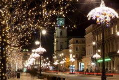 Night city lights in old town Warsaw, Poland. Christmas. Time Royalty Free Stock Image