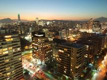 Night city lights in Santiago, Chile Stock Photography