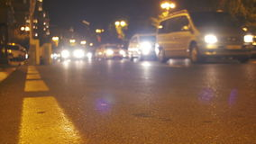 Night City Lights and Traffic Background. AZERBAIJAN, BAKU, MAY 9, 2017: Night city lights and traffic background. Out of focus background with blurry unfocused stock video