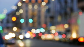 Night city lights and traffic background. Night city lights and traffic. Out of focus background with blurry unfocused city lights and driving cars stock video