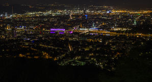 Night at City of Linz. City of Linz as seen from the hill Pöstlingberg, Austria Stock Photo