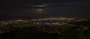 Night at City of Linz. City of Linz and Danube River as seen from the hill Pöstlingberg, Austria Royalty Free Stock Photos