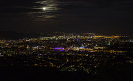 Night at City of Linz. City of Linz and Danube River as seen from the hill Pöstlingberg, Austria Stock Images