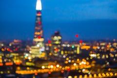 Night city of London view in blur.  London. Night city of London view in blur. City street blurry photo, bokeh image. UK London Royalty Free Stock Image