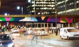 Night city of London view in blur.  London. Night city of London view in blur. City street blurry photo, bokeh image. UK London Stock Photo