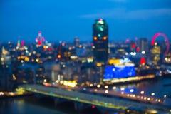 Night city of London view in blur.  London. Night city of London view in blur. City street blurry photo, bokeh image. UK London Royalty Free Stock Photography