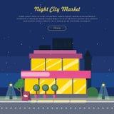 Night City Market Near Road Web Banner Flat Design Royalty Free Stock Image