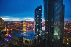 Night city, megalopolis, Kazakhstan, Astana. High buildings, above the ground royalty free stock photos