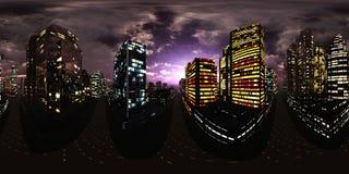 Night city,night skyscrapers, HDRI, environment map
