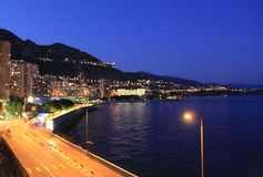 Night city. Monte Carlo stock photography