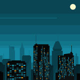 Night city with moon Stock Photography