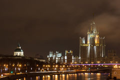 Night city,Moscow skyscraper Stock Images