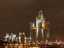 Night city,Moscow skyscraper Stock Photography